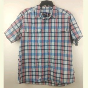 Men's Patagonia Button Up Short Sleeve Shirt L Red